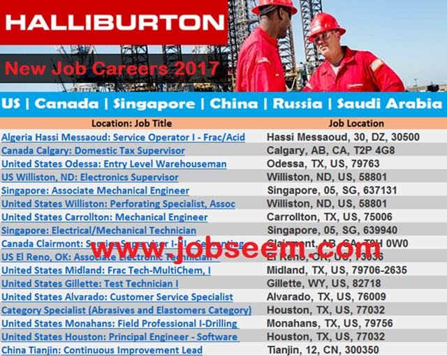 Hiring Staffs In Halliburton Company Job Careers In Us
