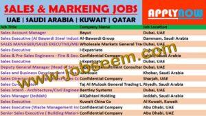 Latest Sales & Marketing Jobs in UAE–SAUDI ARABIA–KUWAIT–QATAR - Job