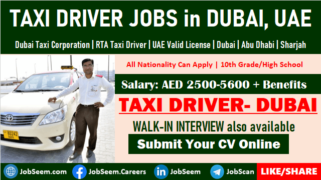 Taxi Driver Jobs in Dubai Walk in Interview Vacancy Openings