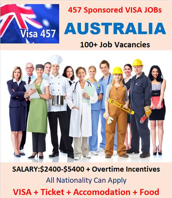 457 Sponsored Jobs in Australia | 457 VISA Jobs Career in Australia