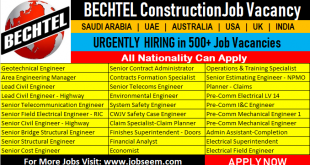 Bechtel Construction Jobs Saudi Arabia-UAE-Egypt-Australia-USA-UK-India