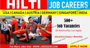 Hilti Job Careers Hiring Staffs at HILTI in USA-Canada-Austria-Singapore-Germany-India