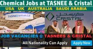 Hiring in TASNEE and Cristal Petrochemicals | TASNEE Job Careers