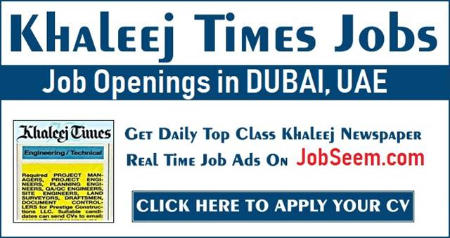 Khaleej Times Jobs in Dubai, UAE for Freshers | Gulf News Jobs
