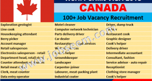 Multiple Jobs in Canada for Freshers Urgent Recruitment 2018