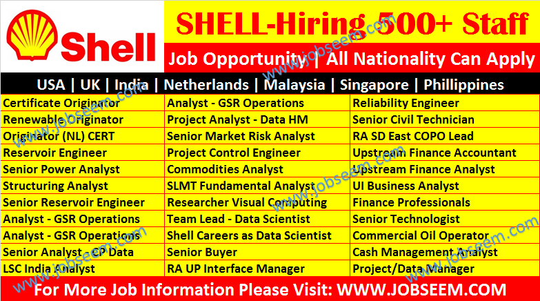 Shell Careers Hiring Multiple Oil and Gas Job Vacancy Shell Recruitment