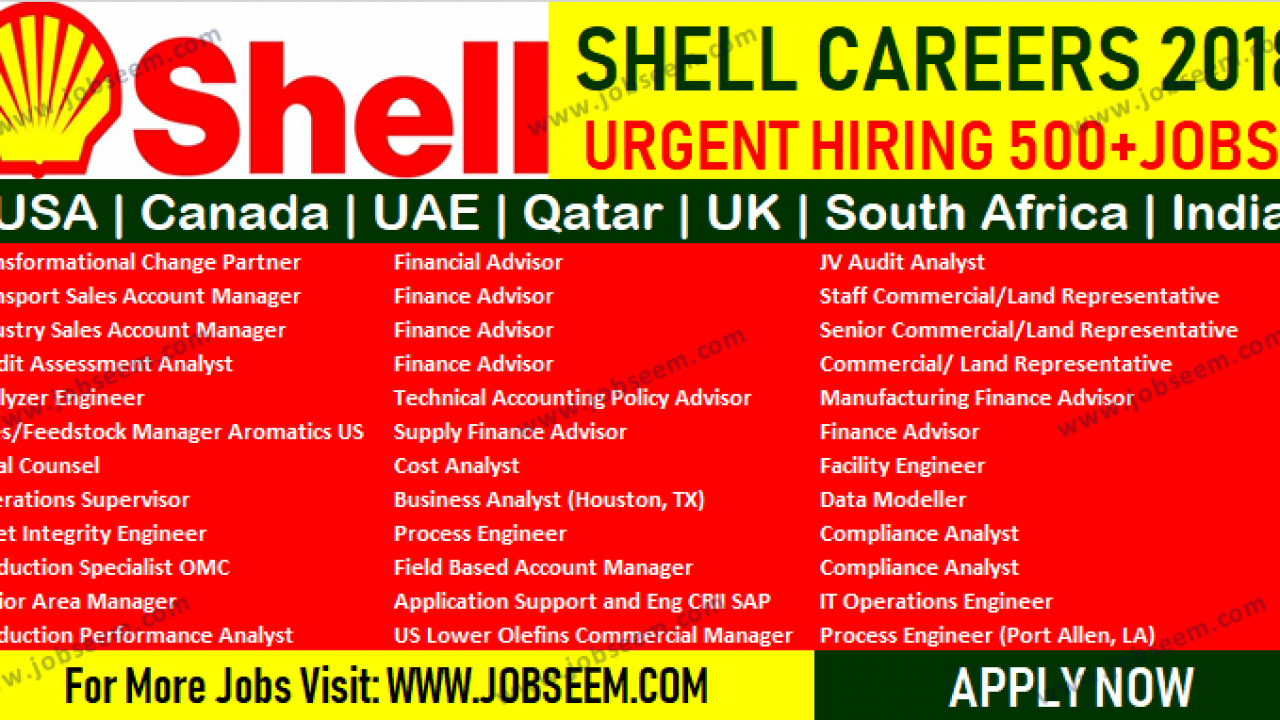 Shell Careers | Hiring Multiple Oil and Gas Job Vacancy 2018