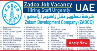 Zadco Careers UAE Zadco Offshore Oil and Gas Urgent Staff Recruitment Abu Dhabi