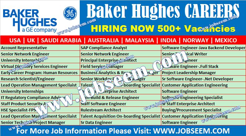 Baker Hughes Careers Recruitment BHGE Jobs New Vacancy Openings