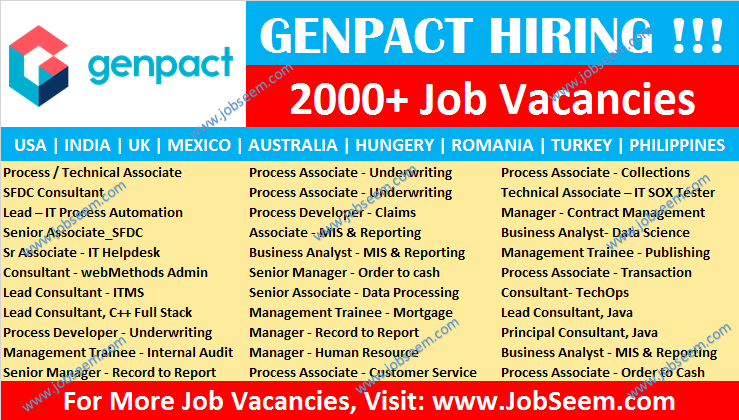 Genpact Jobs for Freshers Recruitment, Genpact Careers Vacancy Opening 2020