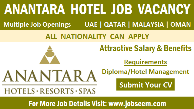 Anantara Hotel Careers Job Vacancy Openings and Direct Staff Recruitment