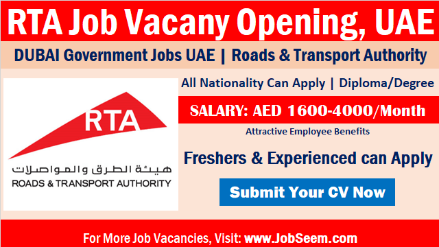 RTA Careers Government Jobs Dubai UAE Roads and Transport Authority