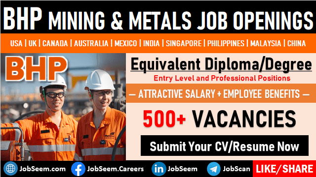 BHP Careers and Staff Recruitment Mining & Metal New Job Vacancy Openings