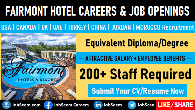 Fairmont Hotel Careers Exciting New Job Vacancy Openings and Staff Hiring