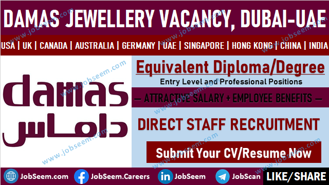 Damas Jewellery Careers Recruitment Opening Damas Jobs and Employment in Dubai UAE